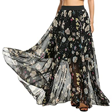 Meaneor Women High Waist Summer Beach Flower Skirt Maxi Long Skirt (Floral  1,S