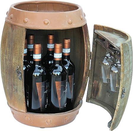 DanDiBo Botellero Madera Barril de Vino marr/ón 44/cm 91361/Bar Botella Botellero peque/ño Barril Madera Barril