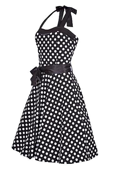 Laeticia Dreams Damen Kleid Rockabilly 50er Jahre Knielang Neckholder SML XL