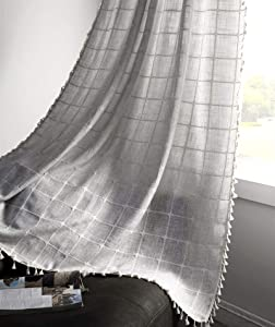 YoKii Boho Curtains for Bedroom 63-Inch Modern Farmhouse Cotton Linen Embroidery Tassel Window Curtain Panels Semi-Transparent Geometric Trellis Draperies Living Room Decor (Pairs 54 x 63L, Grey)