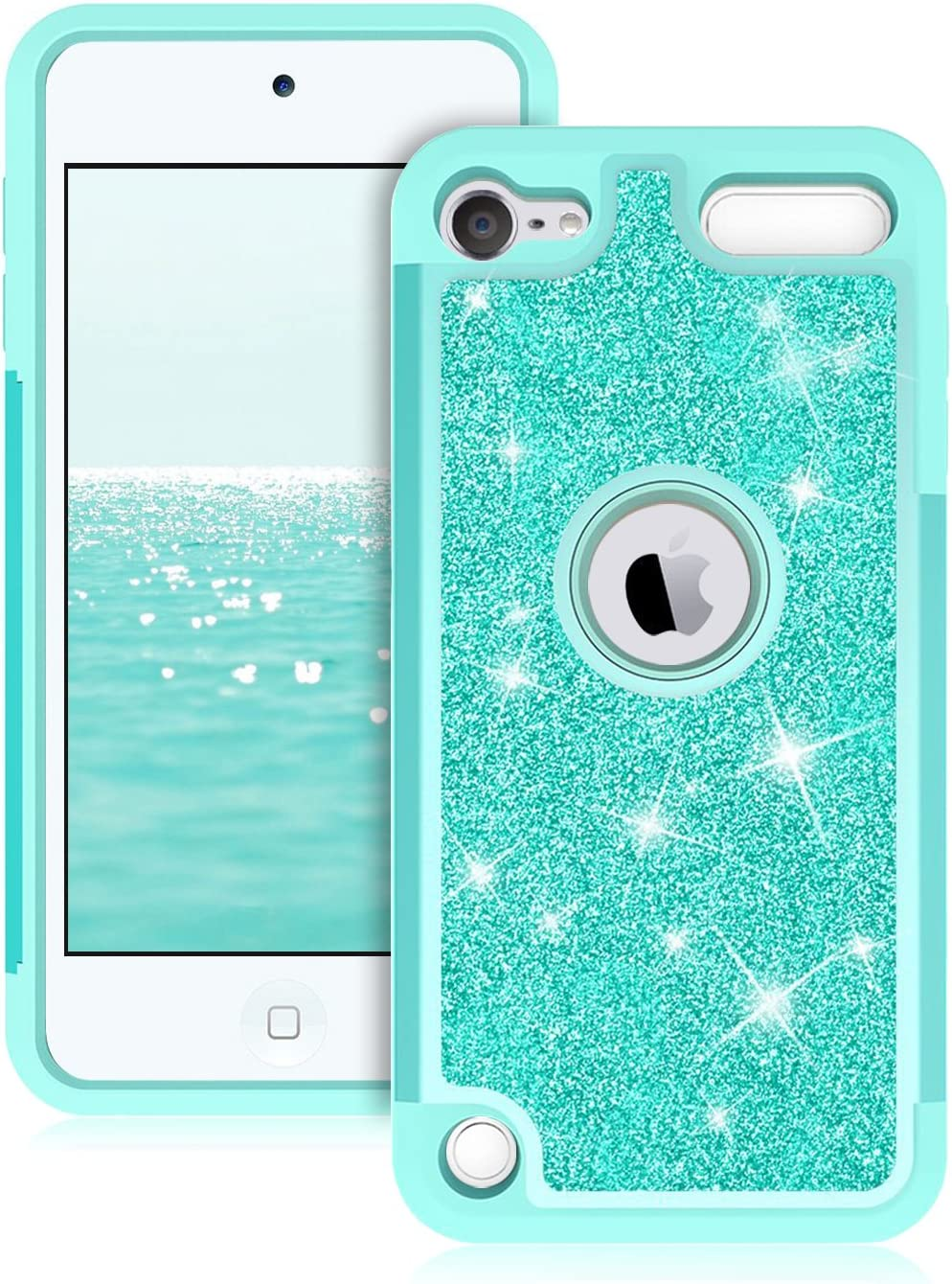 Dailylux Case for iPod Touch 5/6 / 7th Generation, Dual Layer Heavy Duty Protective Case High Impact Bumper Cover for Apple iPod Touch 5, iPod Touch 6, iPod Touch 7, Glitter Green