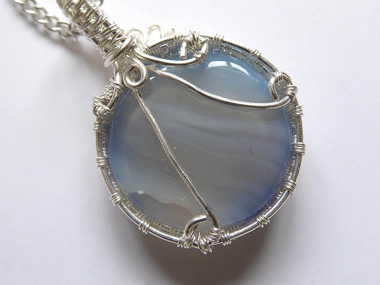 Agate Silver Filled Handmade Pendant 18 Necklace Blue//Grey Wire Wrapped Natural Genuine Gemstone Real Gemstone Gift For Her Present