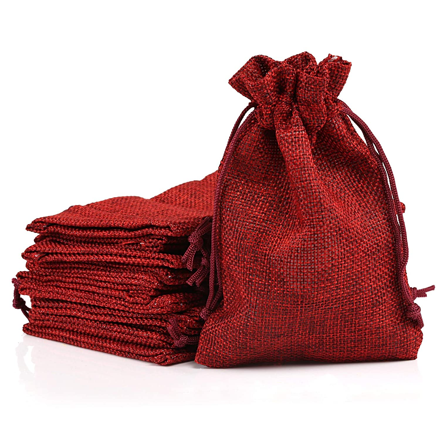 Naler 12pcs Burlap Canvas Pouches Bags, Sack Drawstring Pouches Gift Bags for Wedding Favor, Jewelry, Vintage Party Storage Wrap, 10 * 15cm