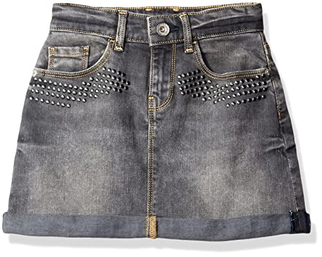 Guess big girls denim skirt with studs and flower applique grey