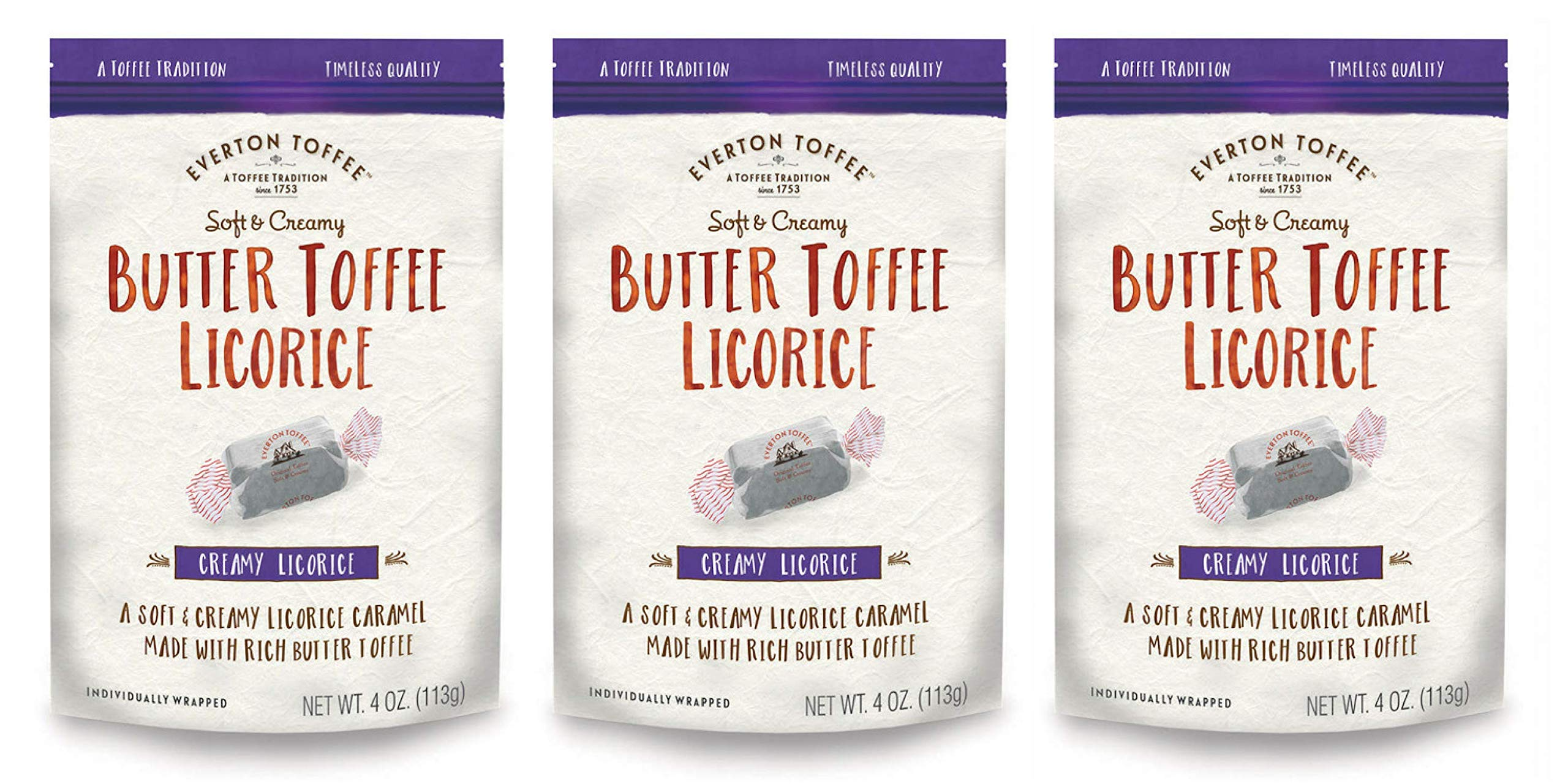 Everton Toffee Butter Toffee Caramels, Licorice Flavor (4 oz. bag, 3-pack). Gourmet, Artisan Soft and Creamy Toffee Caramels, Small Batch Crafted Carmel Candy Treats by Everton Toffee
