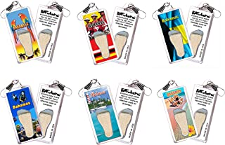 product image for Bahamas FootWhere Lanyards. 6 Piece Set. Authentic Destination Souvenir acknowledging Where You've Set Foot. Genuine Soil of Featured Location encased Inside Foot Cavity. Made in USA
