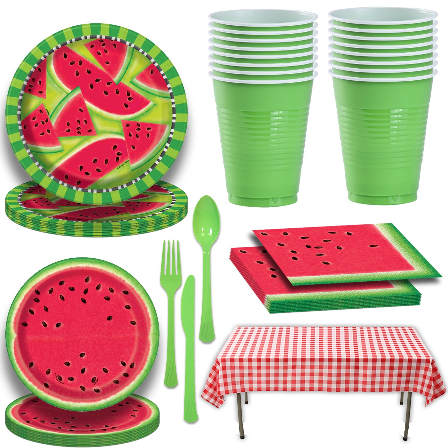 Picnic Watermelon Tableware for 16. Large and Small Plates, Napkins, Red Gingham Tablecloth, Green Cutlery and Party Cups. Decorated Party Supplies for Outdoor, Summer, Fruit, Barbecue Theme and More