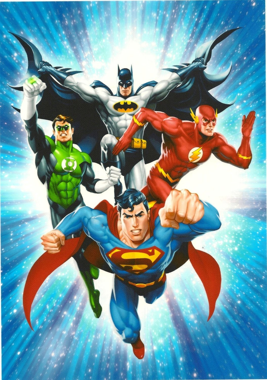Justice League Superman Flash Green Lantern Batman Edible Image