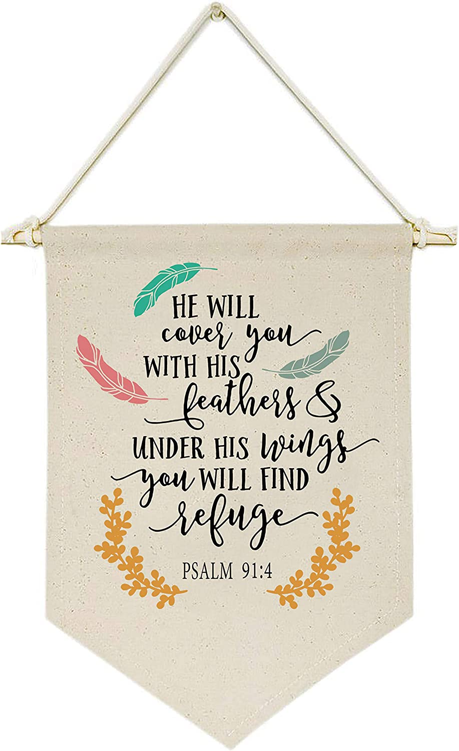 He Will Cover You With His Feathers and Under His Wings - Canvas Hanging Flag Banner Wall Sign Decor Gift for Baby Kids Girl Boy Nursery Teen Room Front Door-Psalm 91:4-Bible Verse,Religious,Scripture