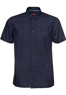 Merc FAIRBY - Camisa de Manga Corta con Cuello de Botones Azul M: Amazon.es: Ropa y accesorios