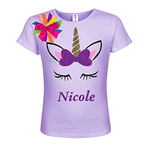 67a6094193 Amazon.com: Unicorn Shirt Girls Personalized Gift Custom Name Rainbow  Glitter T Shirt: Handmade