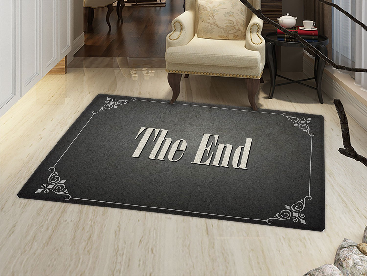 Movie Theater Floor Mat for kids The End Quote with Swirled Frame on an Abstract Ombre Background Door Mat Increase Charcoal Grey Cream