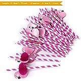 ZeWoo 50 PCS 3D Flamingo Trinkhalme Strohhalme Halme Cocktail Hochzeit Party Barzubehör, lebensmittelecht(Papierstrohhalme) (Rose)
