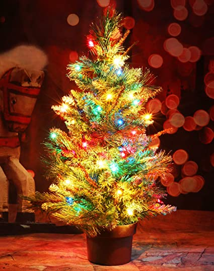 Amazon.com: CASACLAUSI Artificial Christmas Tree on Wood Base with ...