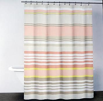 dkny fabric shower curtain peach orange yellow beige stripes urban lines pale sorbet