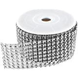 "Diamond Sparkling Rhinestone Mesh Ribbon Roll for Arts & Crafts, Event Decorations, Wedding Cake, Birthdays, Baby Shower, 1.5"" x 3 Yards, 8 Row, 1 Roll by Super Z Outlet (Silver)"
