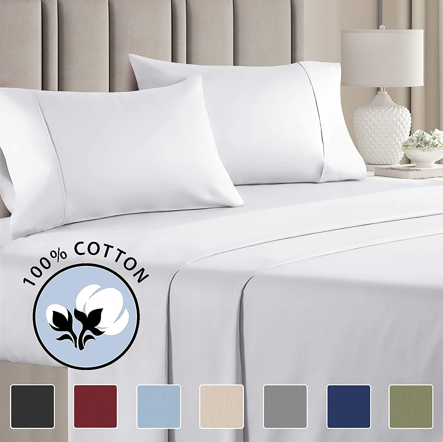 100% Cotton Cal King Sheets White (4pc) Silky Smooth, Cooling 400 Thread Count Long Staple Combed Cotton Cal King Sheet Set – Pure 400TC High Thread Count Cal King Sheets - Cal King Bed Sheets Cotton