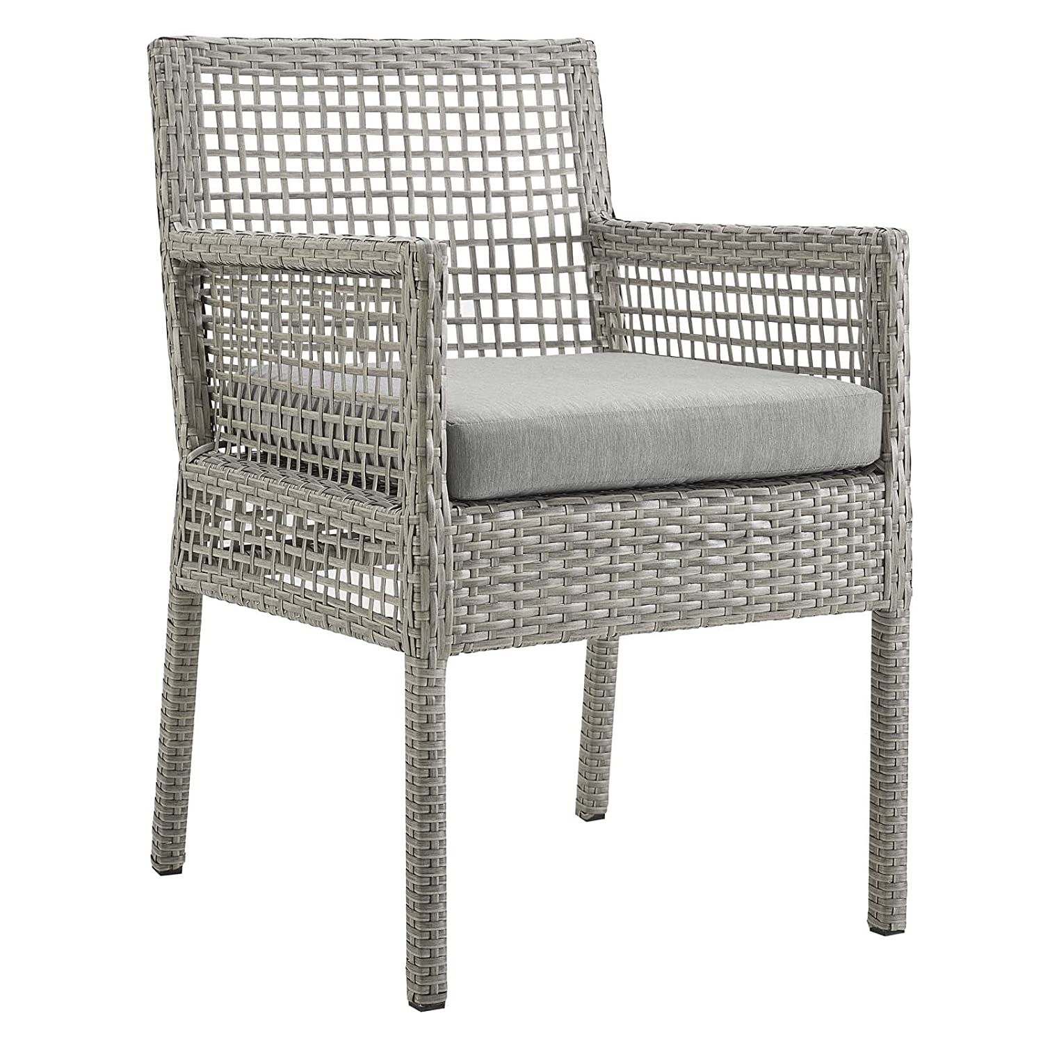 Modway EEI-2920-GRY-GRY Aura Wicker Rattan Outdoor Patio, Dining Armchair, Gray