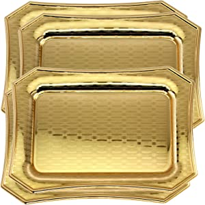 Maro Megastore (Pack of 4) 13.9 Inch x 9.8 Inch Octagonal Iron Gold Serving Tray Edge line Pattern Engraved Decorative Holiday Wedding Birthday Dessert Snack Wine Candle Platter Plate Party CC-902