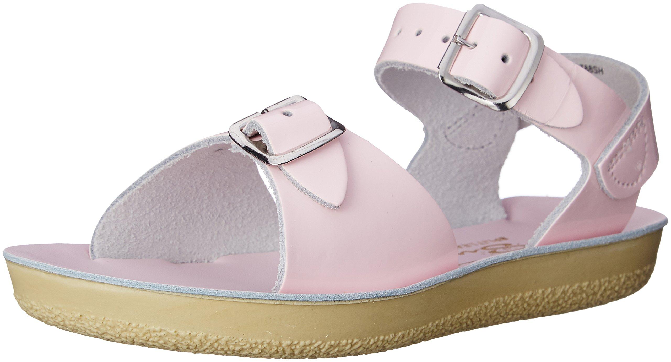 Salt Water Sandals by Hoy Shoe Kids' Sun-San Surfer Flat, Shiny Pink, 4 M US Toddler