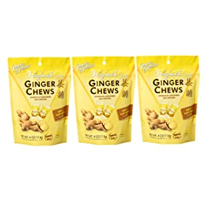 Prince of Peace Ginger Chews Candy Original Flavor — Sweet and Spicy Chewy Organic Vegan Candies for Morning Sickness and Nausea Relief — 4oz (Pack of 3)