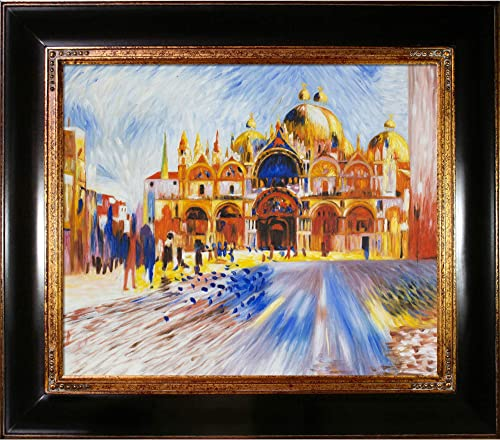 La Pastiche OverstockArt The Piazza San Marco Venice, 1881 by Pierre-Auguste Renoir Hand Painted Oil on Canvas with Opulent Frame, 33 x 29