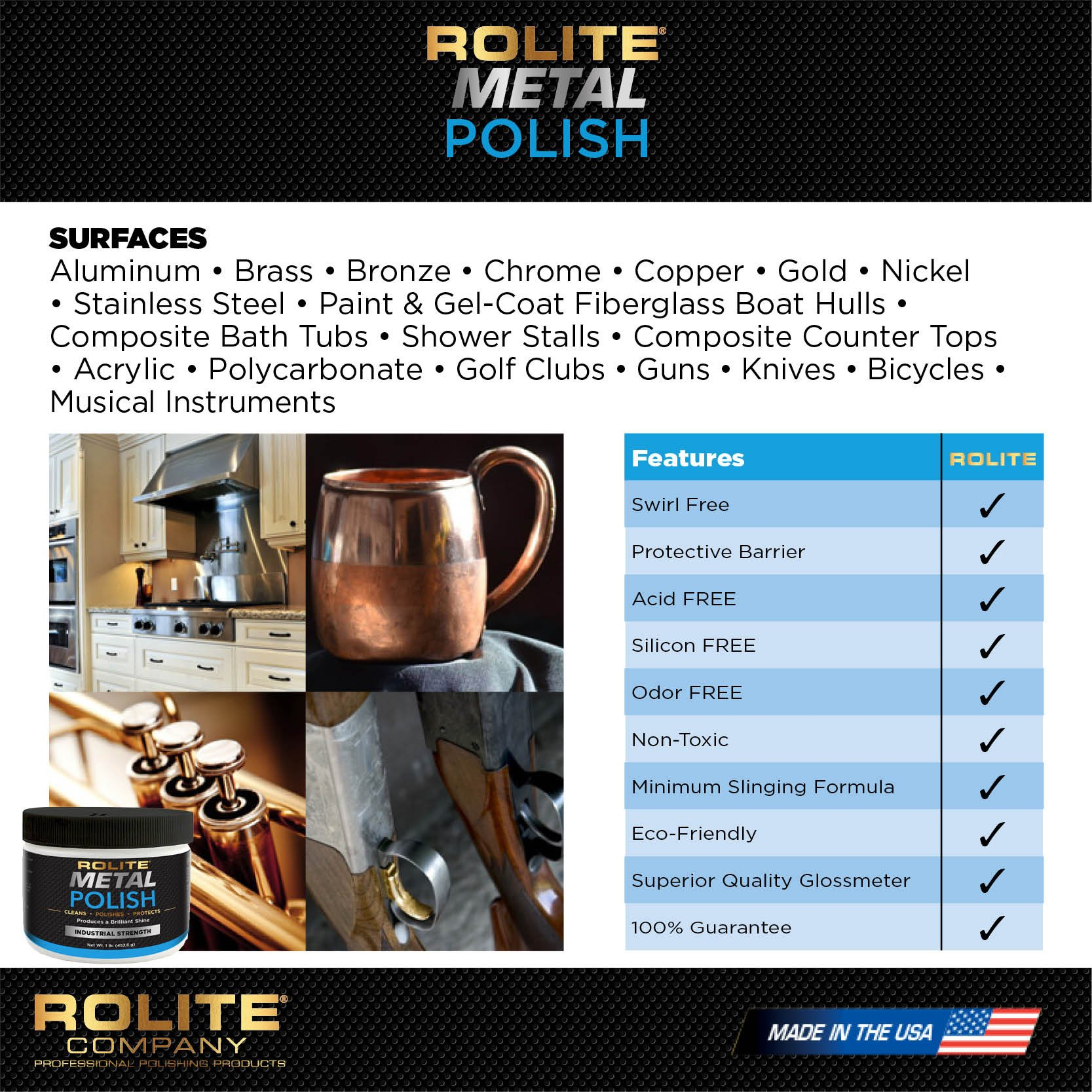 Rolite Metal Polish Paste (1lb) for Aluminum, Brass, Bronze, Chrome, Copper, Gold, Nickel and Stainless Steel by Rolite (Image #3)