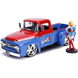 1956 Ford F-100 Pickup Truck Red and Blue with Supergirl Diecast Figure DC Comics Bombshells Series 1/24 Diecast Model Car by Jada 30454