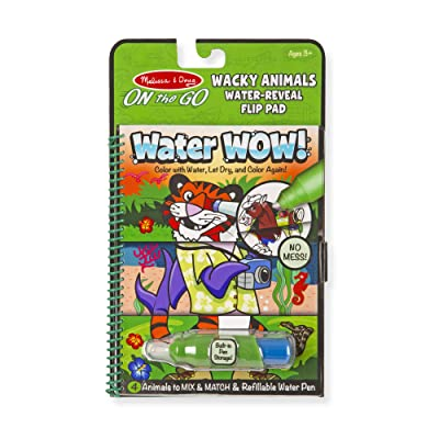 Melissa & Doug On the Go Water Wow! Wacky Animals Flip Pad (The Original Reusable Coloring Book, Refillable Water Pen, Great Gift for Girls and Boys - Best for 3, 4, 5, 6, and 7 Year Olds): Toys & Games