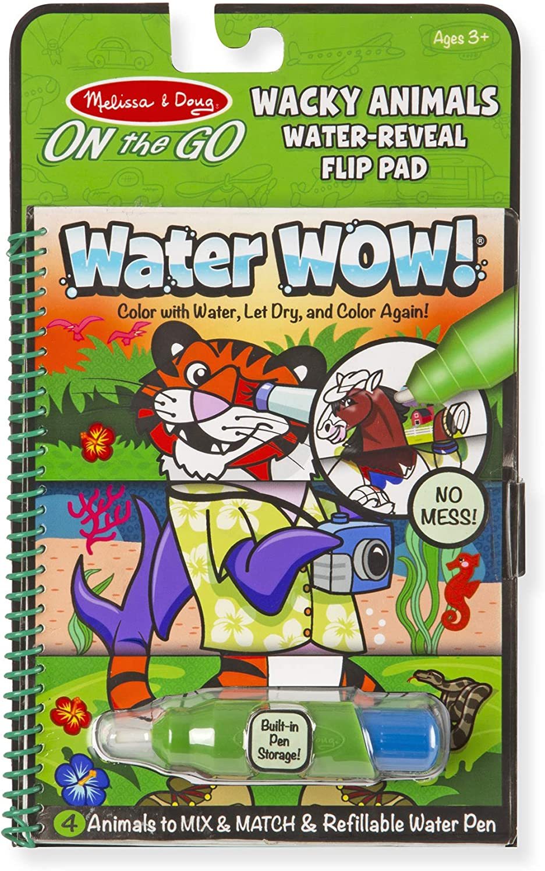 Melissa & Doug On the Go Water Wow! Reusable Water-Reveal Flip Pad - Wacky Animals