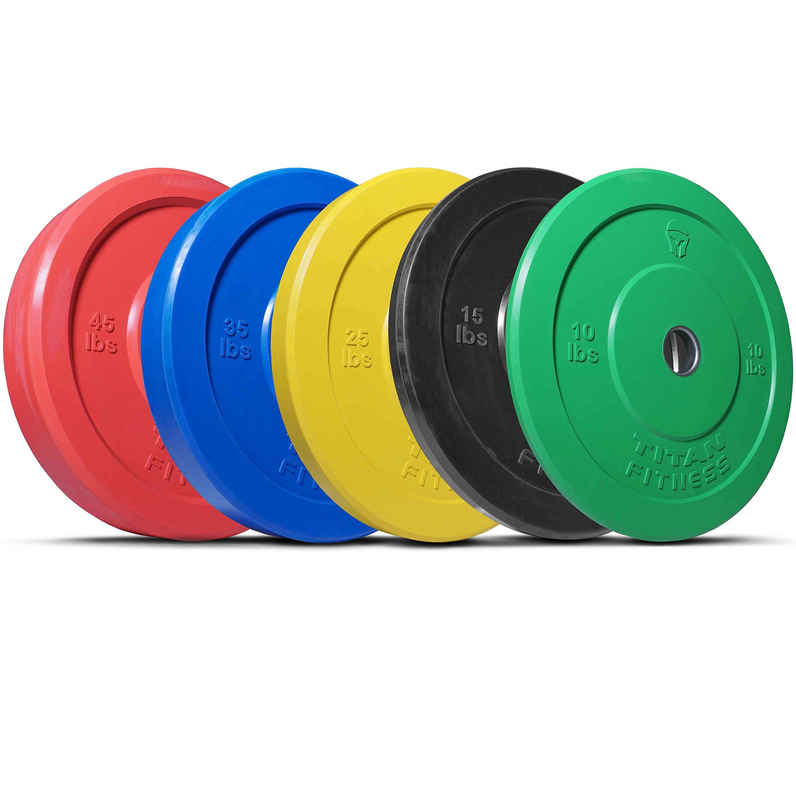 Titan 260 lb Set of Olympic Bumper Plates Benchpress Strength Training Power WOD