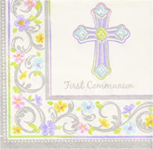Amscan Party Supplies First Communion Beverage Napkins, 36 Ct, White