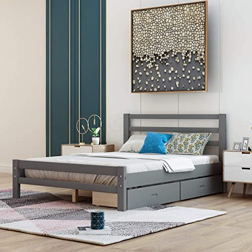 Rhomtree Wood Platform Bed