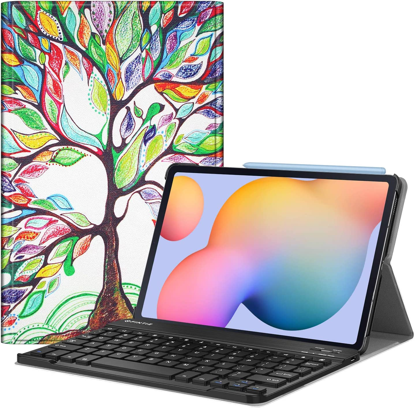 Fintie Keyboard Case for Samsung Galaxy Tab S6 Lite 10.4'' 2020 Model SM-P610 (Wi-Fi) SM-P615 (LTE), Slim Stand Cover with Secure S Pen Holder Detachable Wireless Bluetooth Keyboard, Love Tree