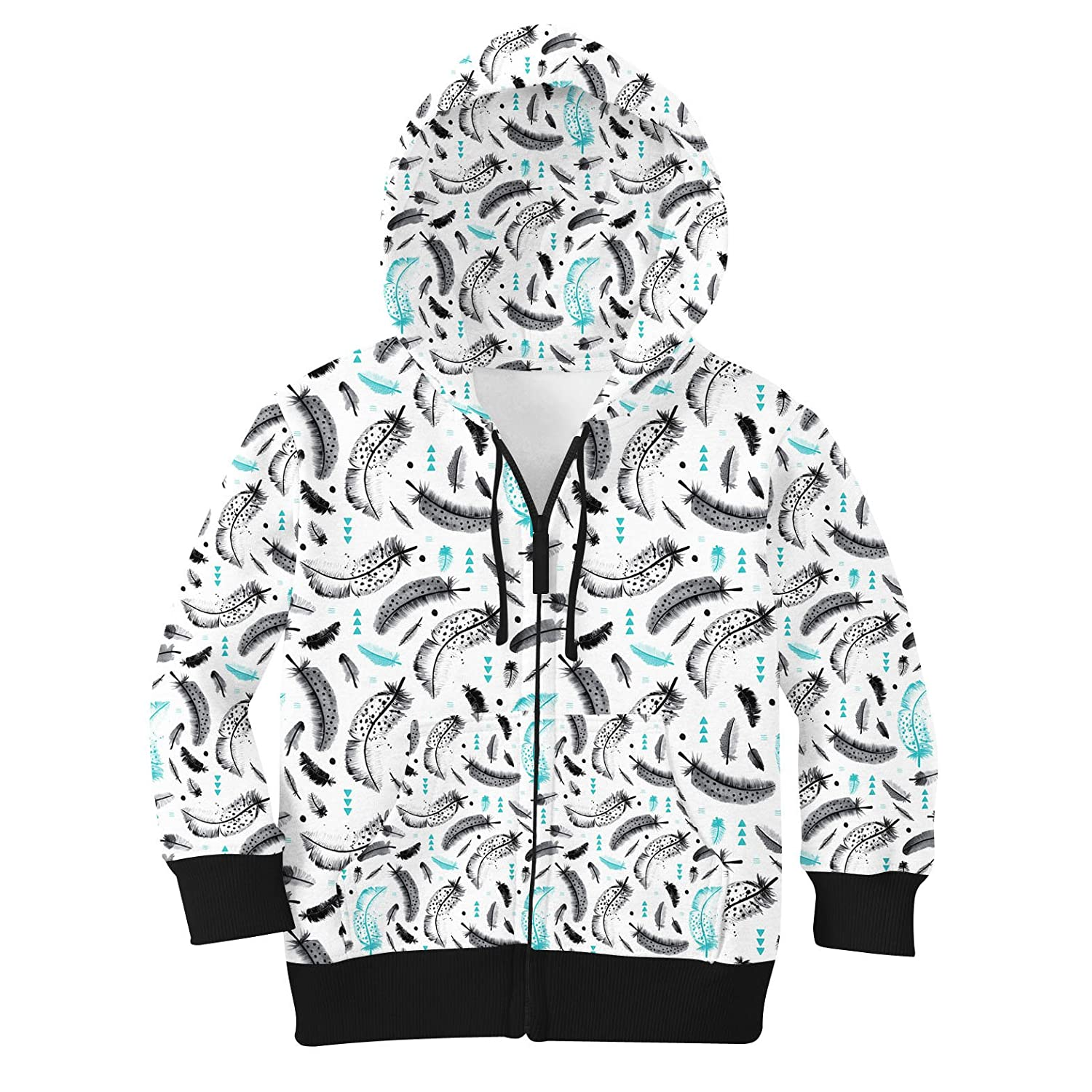 Teal 10 Boho Watercolor Feathers Kids Zip Up Hoodie Unisex
