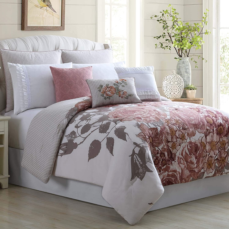 Amazon Com Amrapur Overseas 38ebjqcf Fio Kg Farmhouse 8 Piece Embellished Comforter Set King California King Off White Rose Home Kitchen