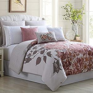 Amrapur Overseas Rose Farmhouse 8-Piece Embellished Comforter Set, King/California King, Off- White