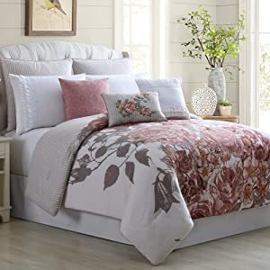 Amrapur Overseas Rose Farmhouse 8-Piece Embellished Comforter Set, Queen, Off- White