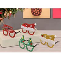 TIED RIBBONS Christmas Party Supplies - 4 Pcs Christmas Eyeglasses/Goggles Glitterl Merry Christmas Party Props - Party Favors Christmas Gift for Kids (Christmas Goggles)