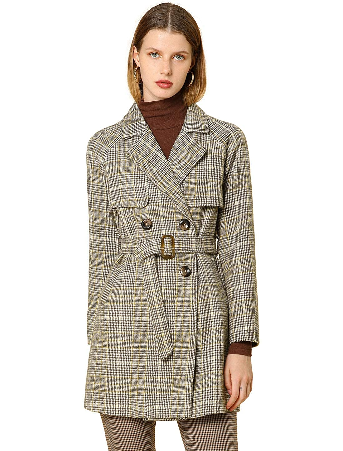 70s Jackets & Hippie Vests, Ponchos Allegra K Womens Double Breasted Raglan Sleeve Belted Plaid Trench Coat $68.99 AT vintagedancer.com