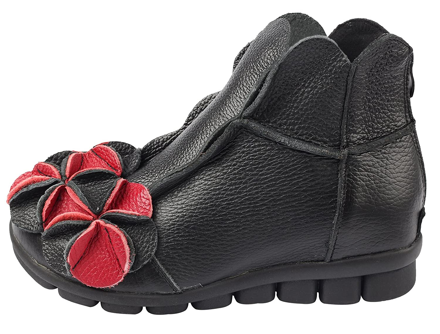 Mordenmiss Women's Round Topline with Unique Handmade Flower Leather Shoes B01AD2OKWS US 8.5//CH 40|Black
