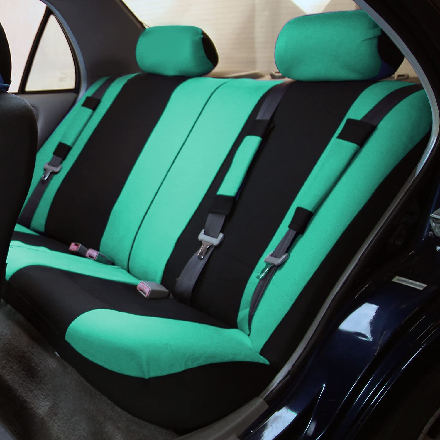 Full Set Car Seat Covers SUV Van Airbag /& Split Ready FH Group Stylish Cloth Truck Pink//Black- Fit Most Car