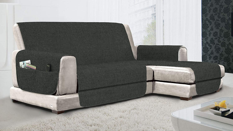 MB HOME BASIC Funda de sofá Antideslizante con Chaise Longue DX Relax, Gris, 190 cm
