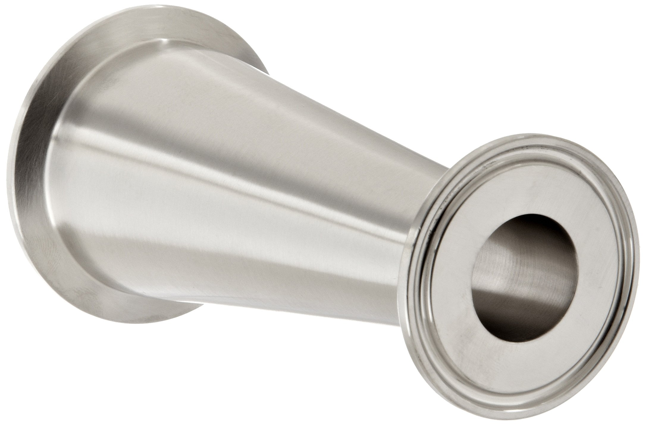 Dixon B3114MP-G200100 Stainless Steel 304 Sanitary Fitting, Clamp Concentric Red Fiberglassucer, 2'' Tube OD x 1'' Tube OD