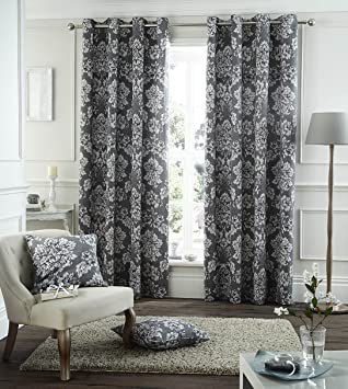 Catherine Lansfield Toile Damask Curtains 90x90 ,Charcoal,: Amazon ...