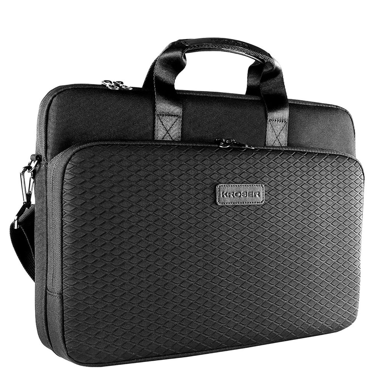 KROSER Laotop Bag Laptop Briefcase 15.6 Inch Shoulder Messenger Bag Water-Repellent Business Bag Laptop Sleeve Case for College/Office/Women/Men-Black