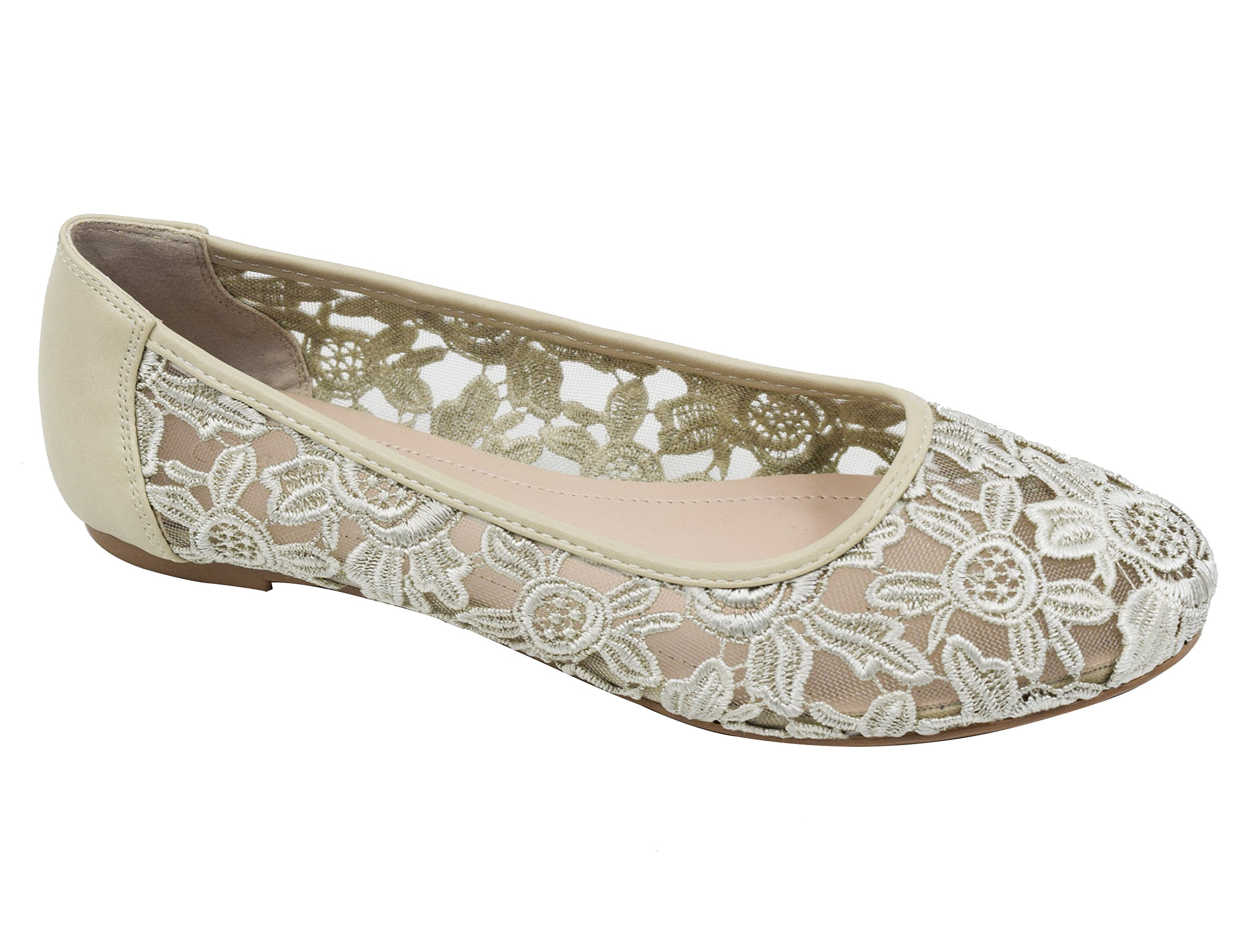 Greatonu Women Shoes Beige Cut Out Slip On Synthetic Loafers Lace Ballet Flats 8 US