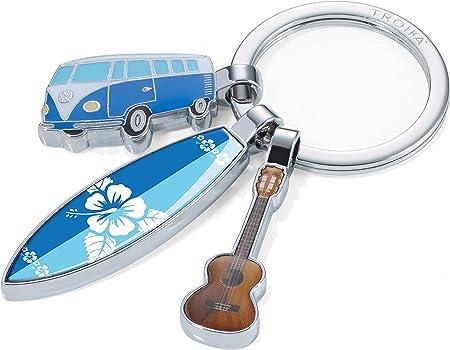 Troika Surfmate T1 Kr16 14 Ch Nostalgie Schlüsselanhänger Mit 3 Anhängern Bulli Surfbrett Gitarre Glänzend Mehrfarbig Koffer Rucksäcke Taschen