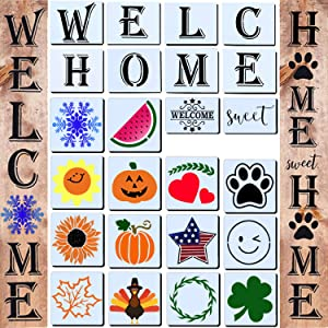24 Welcome Stencil for Painting on Wood,Home Sign Stencils Reusable Porch Sign and Front Door Vertical Welcome Comes with Stencil-Sunflower,Dog Paw Stencil and orther Pattern (Style 4)