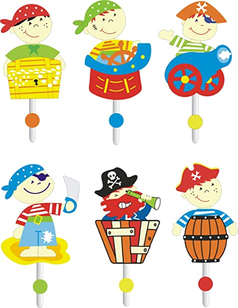6 Pieza Pared Perchero Piratas ies-0812 – Perchero Infantil